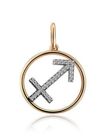 Gold Diamond Sagittarius Sign Pendant, image