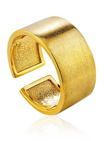 Contemporary Brush Finish Gold Plated Silver Ring The ICONIC, Ring Size: Adjustable, image