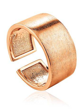 Contemporary Brush Finish Rose Plated Silver Ring The ICONIC, Ring Size: Adjustable, image