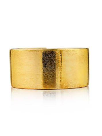 Contemporary Brush Finish Gold Plated Silver Ring The ICONIC, Ring Size: Adjustable, image , picture 3