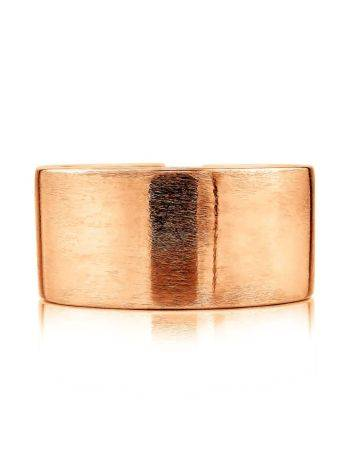 Contemporary Brush Finish Rose Plated Silver Ring The ICONIC, Ring Size: Adjustable, image , picture 3