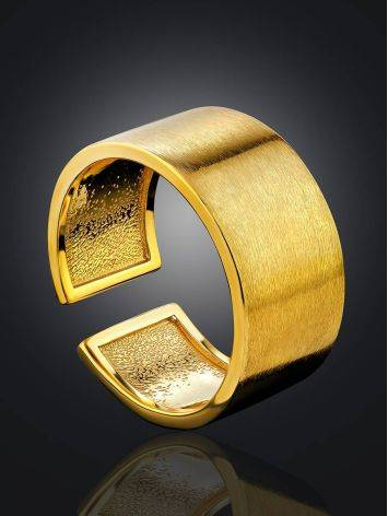 Contemporary Brush Finish Gold Plated Silver Ring The ICONIC, Ring Size: Adjustable, image , picture 2