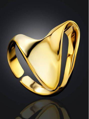 Fabulous Contemporary Gold Plated Silver Ring The Liquid, Ring Size: Adjustable, image , picture 2
