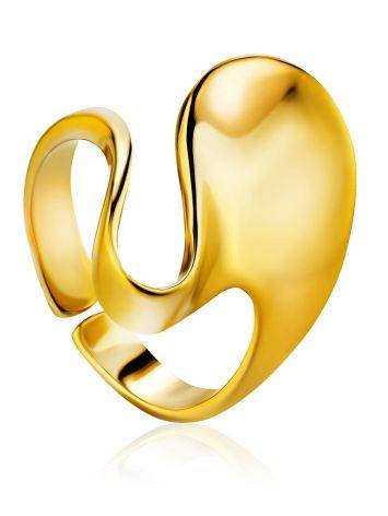 Fabulous Contemporary Gold Plated Silver Ring The Liquid, Ring Size: Adjustable, image
