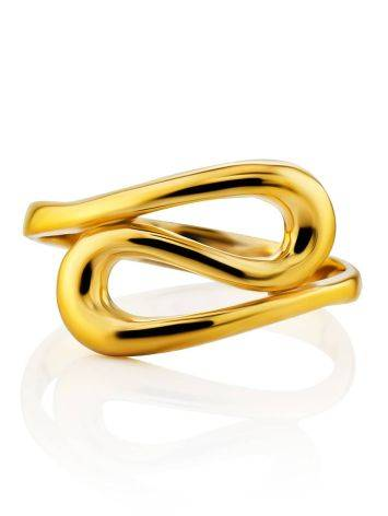 Glossy Gilded Silver Ring The Liquid, Ring Size: 5 / 15.5, image , picture 3