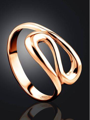 Rose Gold Plated Silver Ring The Liquid, Ring Size: 5 / 15.5, image , picture 3