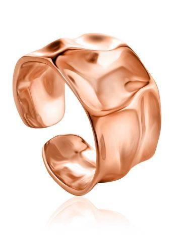 Luxurious Statement Rose Plated Sterling Silver Ring The Liquid, Ring Size: Adjustable, image