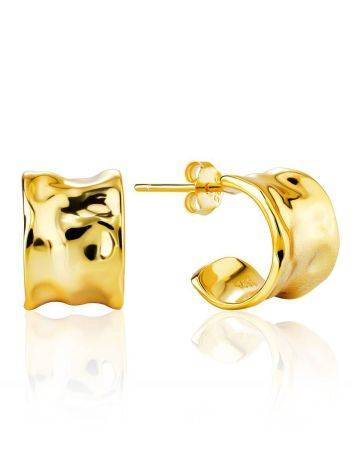 Chunky Gold Plated Silver Hoop Earrings The Liquid, image