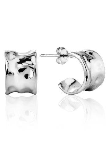 Hammered Silver Stud Hoop Earrings The Liquid, image