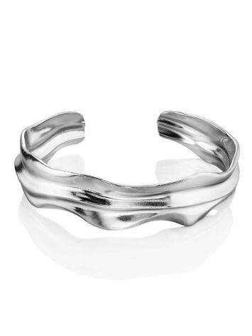 Textured Silver Cuff Bracelet The Liquid, image , picture 3
