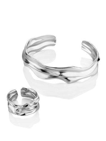 Textured Silver Cuff Bracelet The Liquid, image , picture 4