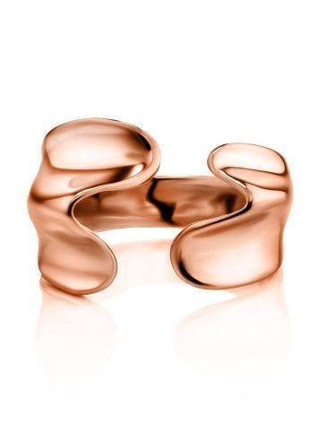 Designed Rose-Plated Silver Ring The Liquid, Ring Size: Adjustable, image , picture 3