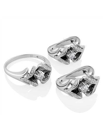 Classic White Gold Diamond Earrings, image , picture 3