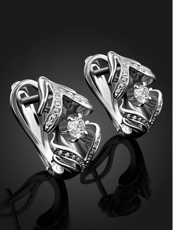 Classic White Gold Diamond Earrings, image , picture 2