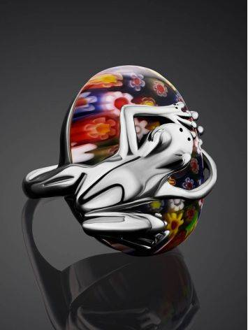 Murano Glass Cocktail Ring With Silver Frog Detail, Ring Size: 6.5 / 17, image , picture 2