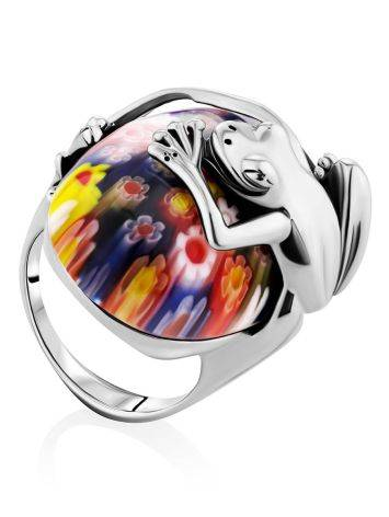 Murano Glass Cocktail Ring With Silver Frog Detail, Ring Size: 6.5 / 17, image