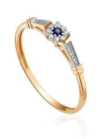 Refined Gold Diamond Sapphire Ring, Ring Size: 6 / 16.5, image