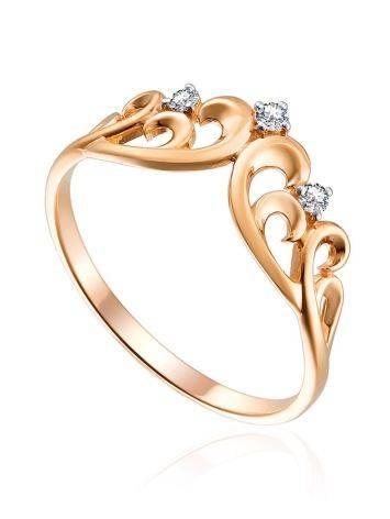 Crown Motif Gold Diamond Ring, Ring Size: 5 / 15.5, image