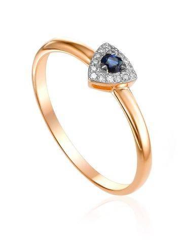 Classic Design Gold Diamond Sapphire Ring, Ring Size: 5.5 / 16, image