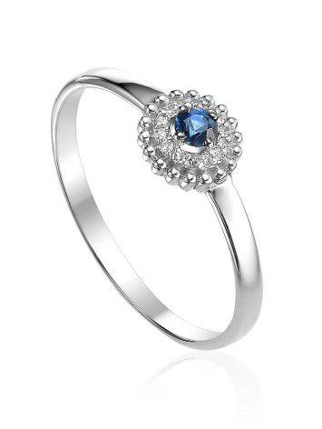 Refined White Gold Sapphire Diamond Ring, Ring Size: 6.5 / 17, image