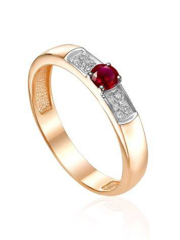 Vintage Style Golden Ring With Ruby And Diamonds, Ring Size: 6.5 / 17, image