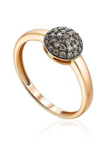 Golden Ring With Shimmering Cognac Diamond Centerpiece, Ring Size: 6 / 16.5, image