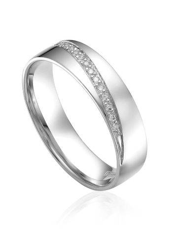 White Gold Band Ring With Shimmering Diamond Row, Ring Size: 7 / 17.5, image