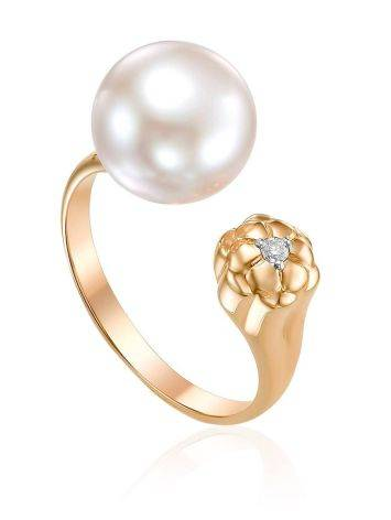 Designer Gold Adjustable Ring With Diamond And Pearl, Ring Size: 7 / 17.5, image