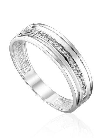 Fashionable White Gold Ring With Diamond Row, Ring Size: 6.5 / 17, image
