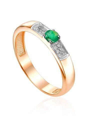 Chic And Classy Golden Ring With Emerald And Diamonds, Ring Size: 6 / 16.5, image