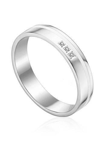 Simplistic Design White Gold Diamond Band Ring, Ring Size: 9 / 19, image