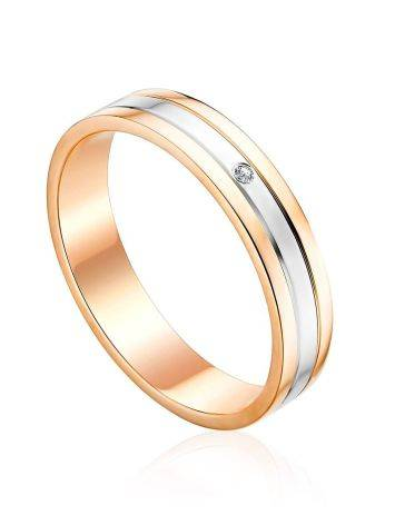 Chic Mix Gold Diamond Ring With Diamond Centerpiece, Ring Size: 6.5 / 17, image