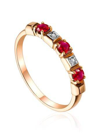 Bright Gold Diamond Ruby Ring, Ring Size: 8 / 18, image