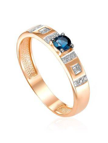 Refined Golden Ring With Sapphire And Diamonds, Ring Size: 5.5 / 16, image
