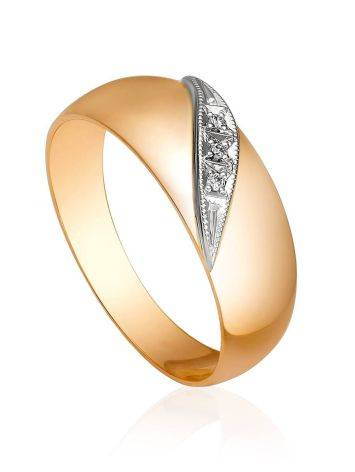Wide Shank Gold Diamond Band Ring, Ring Size: 5 / 15.5, image