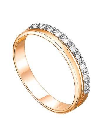 Elegant Golden Ring With Dazzling Diamond Row, Ring Size: 8 / 18, image