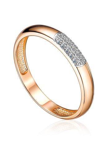 Chic Yellow Gold Diamond Ring, Ring Size: 8 / 18, image