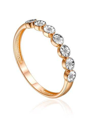 Golden Ring With Dazzling Diamond Row, Ring Size: 5.5 / 16, image