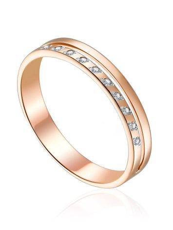 Golden Band Ring With Diamonds, Ring Size: 5.5 / 16, image