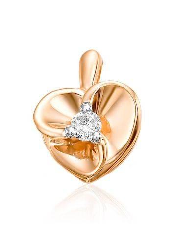 Chic Heart Shaped Gold Diamond Pedant, image