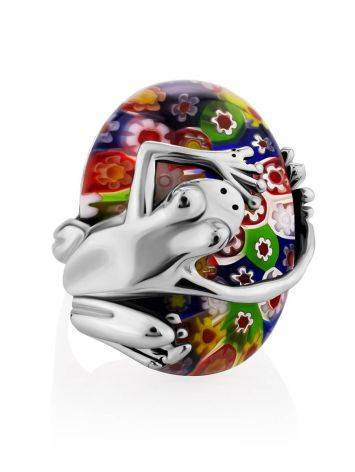 Murano Glass Cocktail Ring With Silver Frog Detail, Ring Size: 6.5 / 17, image , picture 4