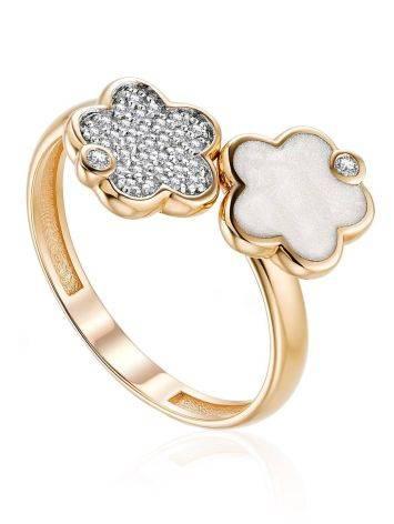 Asymmetric Design Gold Diamond Ring, Ring Size: 6.5 / 17, image