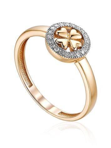 Clover Motif Gold Diamond Ring, Ring Size: 5.5 / 16, image