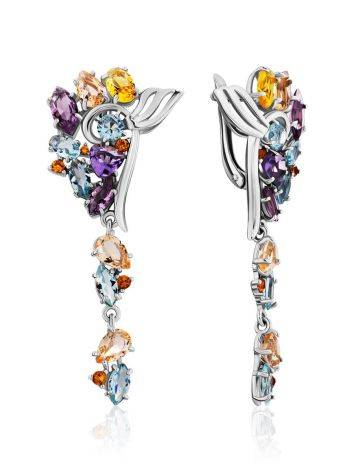 Exquisite Silver Earrings With Topaz And Citrine Stones, image
