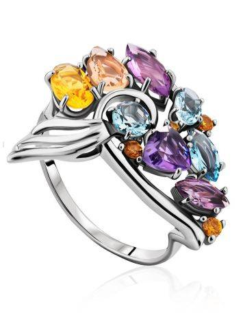 Fabulous Silver Ring With Mix Color Stones, Ring Size: 9.5 / 19.5, image