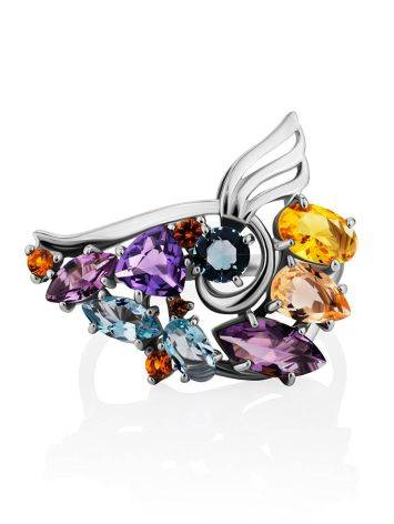 Fabulous Silver Ring With Mix Color Stones, Ring Size: 9.5 / 19.5, image , picture 4