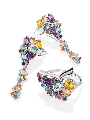 Fabulous Silver Ring With Mix Color Stones, Ring Size: 9.5 / 19.5, image , picture 5