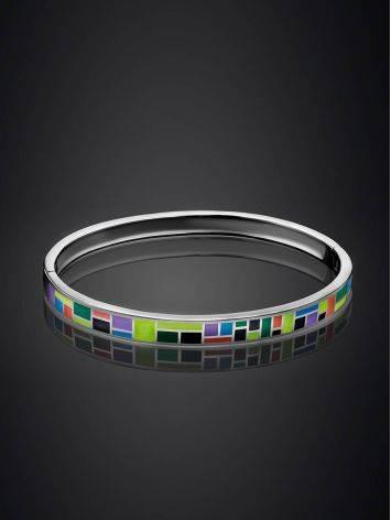 Playful Design Silver Enamel Bangle Bracelet, image , picture 2