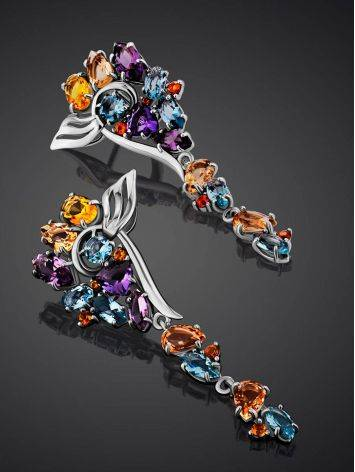 Exquisite Silver Earrings With Topaz And Citrine Stones, image , picture 2