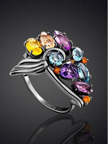 Fabulous Silver Ring With Mix Color Stones, Ring Size: 9.5 / 19.5, image , picture 2